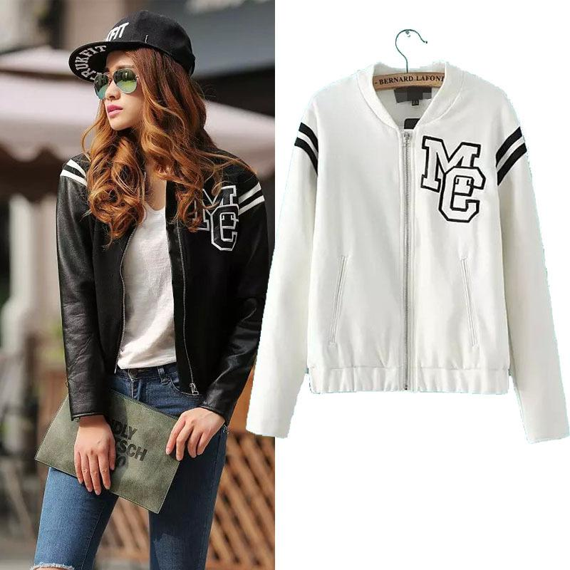 Leather Sleeve Baseball Jacket Fashion High Street Style Letter ...