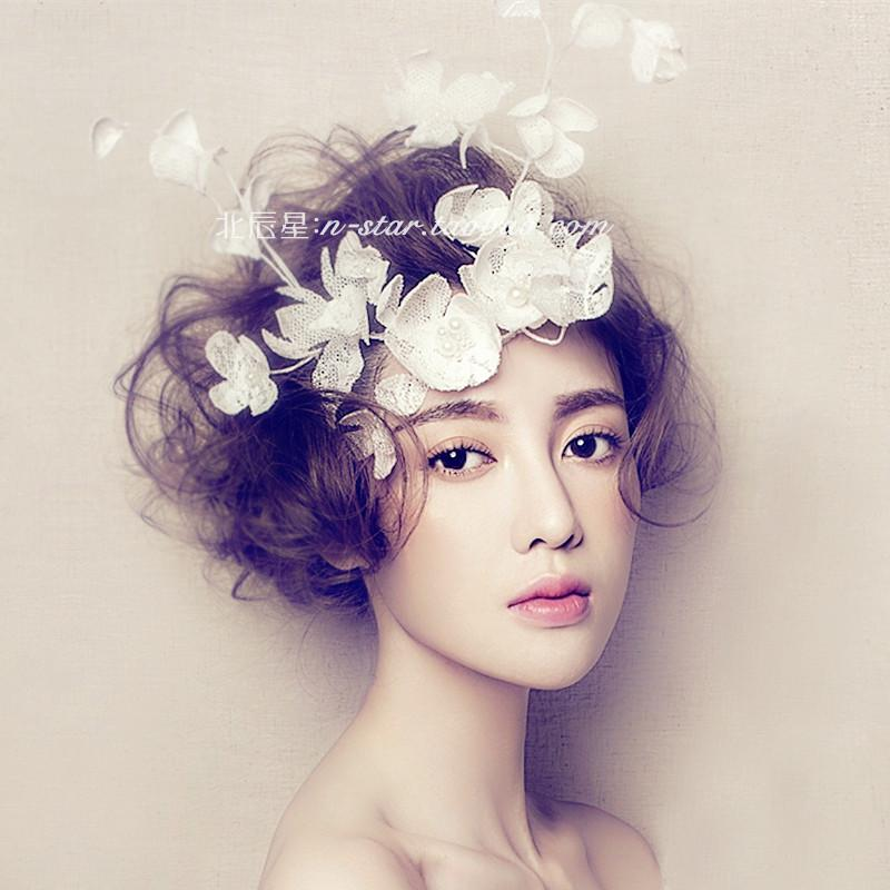 Stupendous Luxury Thick Lace Flower Hair Accessories Wedding Headpiece Bridal Hairstyles For Men Maxibearus