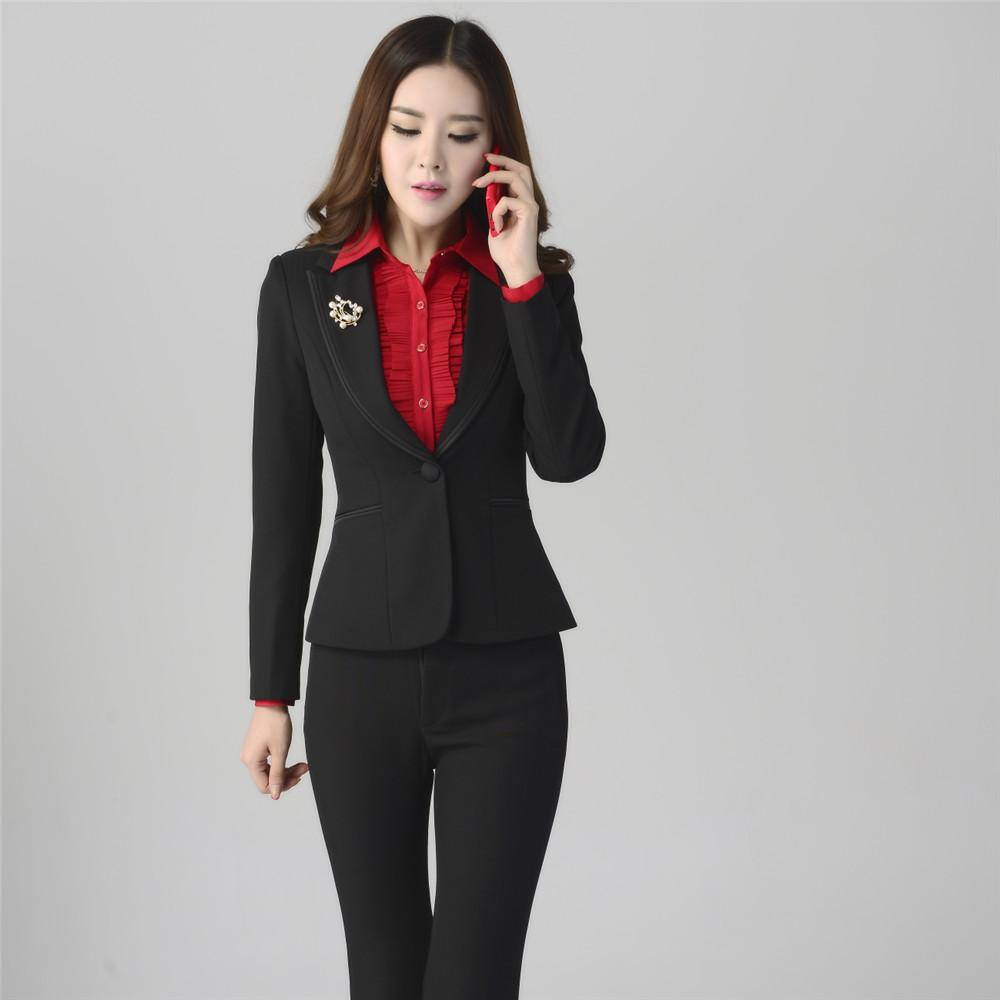 2016 Women Sets Womens Business Suits Black Pants Suit Formal OL ...