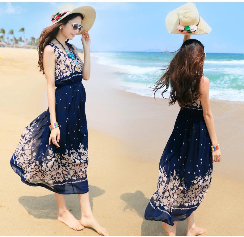 2015 Summer Korean Chiffon Dress Summer Beach Dress ...