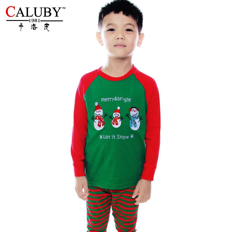 Christmas Cotton Soft Boys Pajamas Kids Sleeping Suits High ...