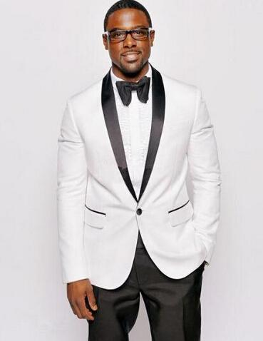 New Style Custom Men's Suit, Custom White Coat And Black Shawl ...