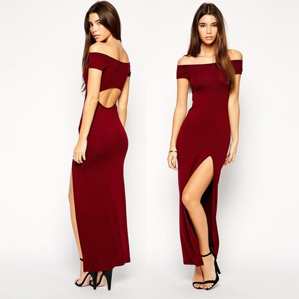 New Sexy Women Off Shoulder Split Backless Dresses Tight Thin ...