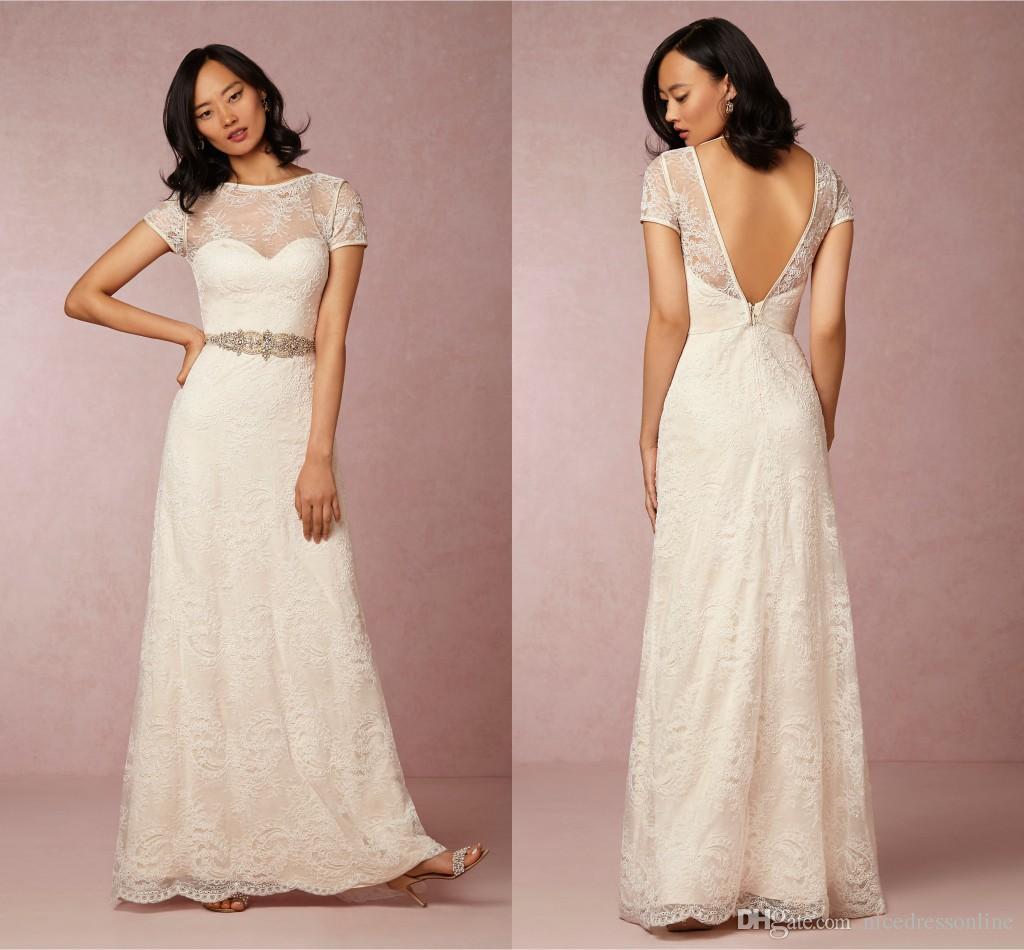 Discount 2015 beach wedding dresses uk a line lace high for Cheap lace wedding dresses uk