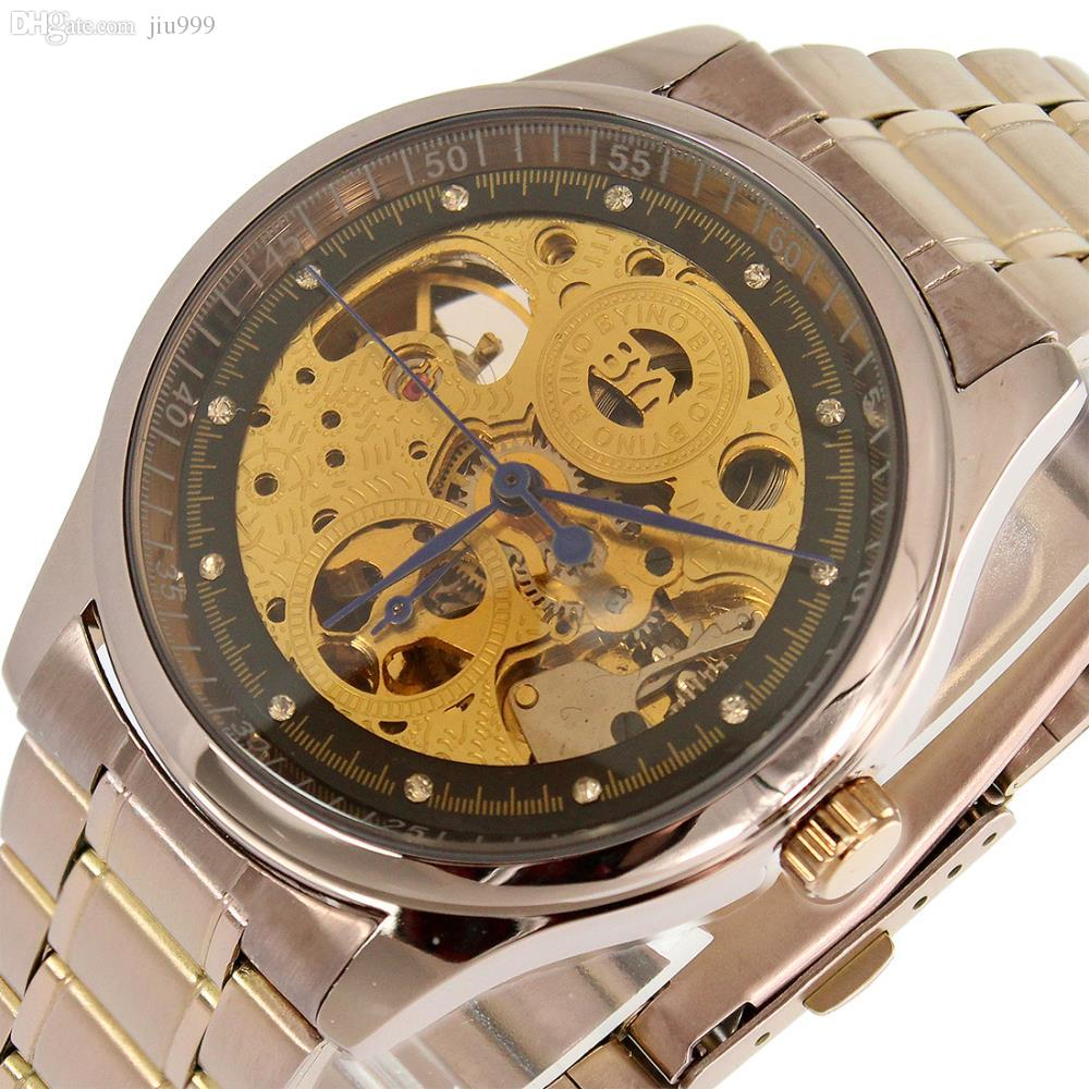 whole byino skeleton watches for men discount fashion whole byino skeleton watches for men discount fashion automatic mechanical steampunk full stainless clock color rose gold online watches diamond watches
