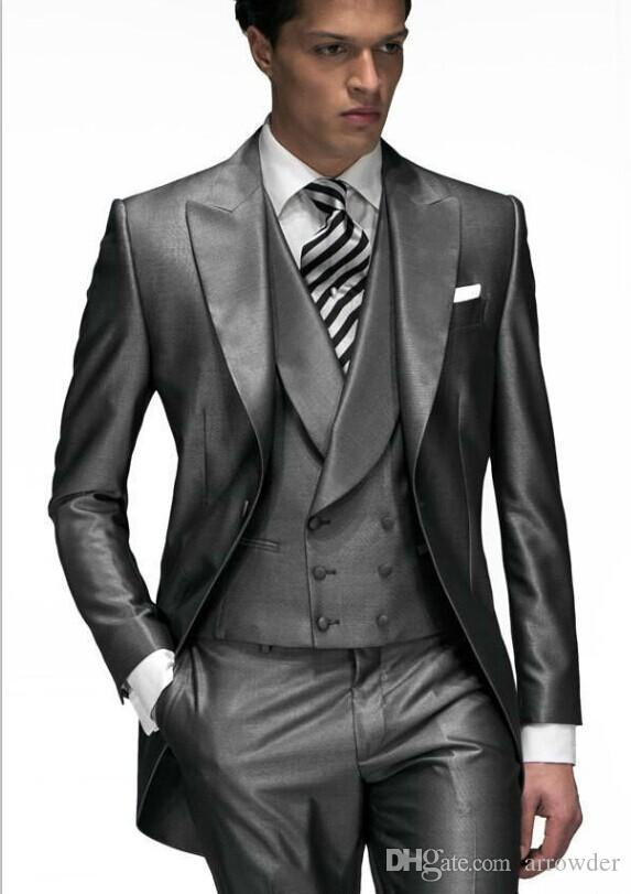 Smoking del novio del gris de plata 2015 Trajes de boda para los hombres del novio