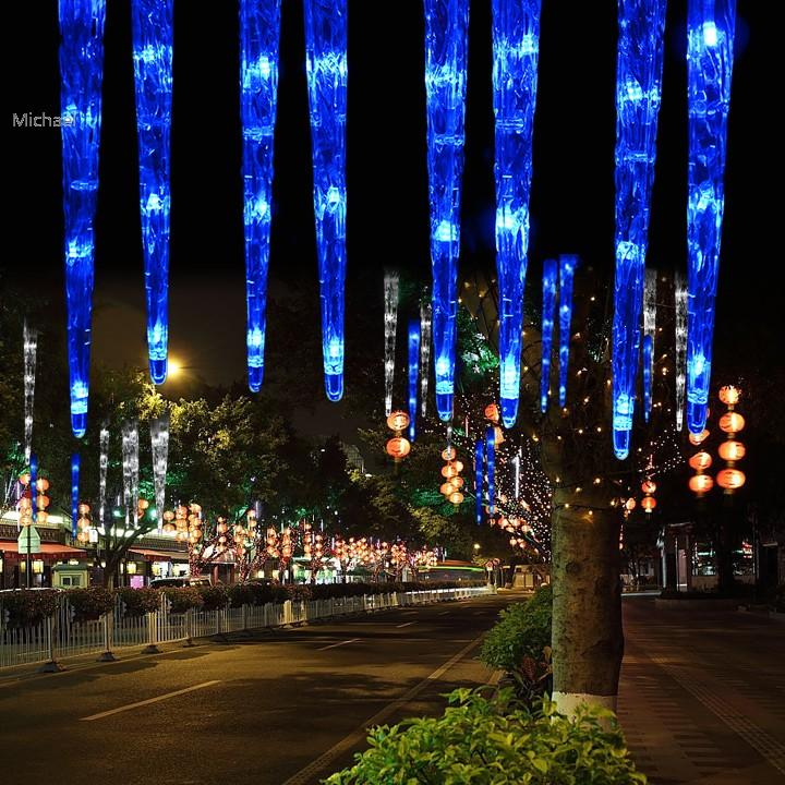Christmas 30cm 32LED 8Tubes Blue LED Icicle Light Tube Dripping ...