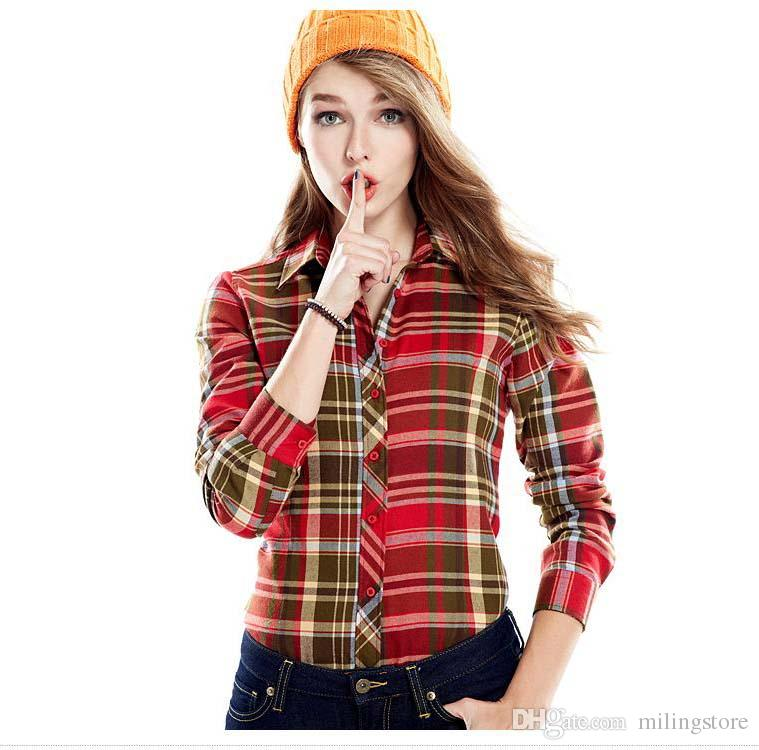 Online cheap high quality long sleeve checked shirt women for Womens white shirts high quality