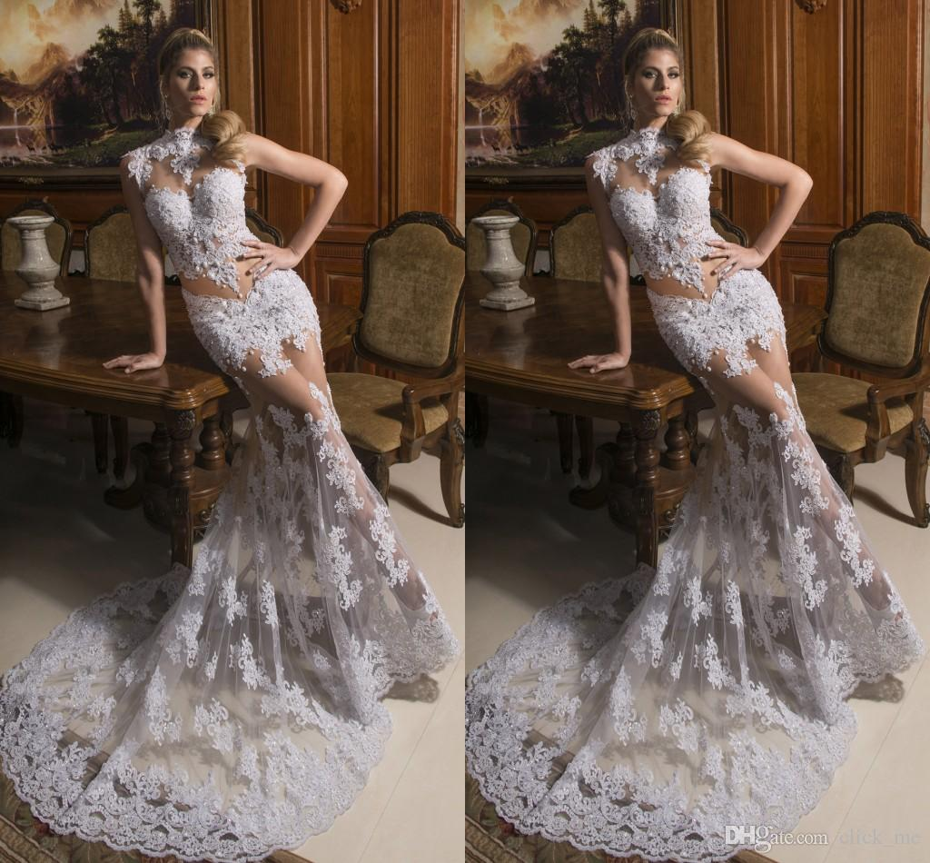 2015 Sexy Mermaid Wedding Dresses Crew Pearls Appliques Illusion ...
