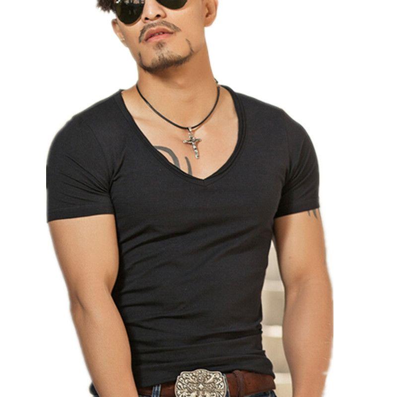 Wholesale Bamboo T Shirt Mens Deep V Neck T Shirts For Men