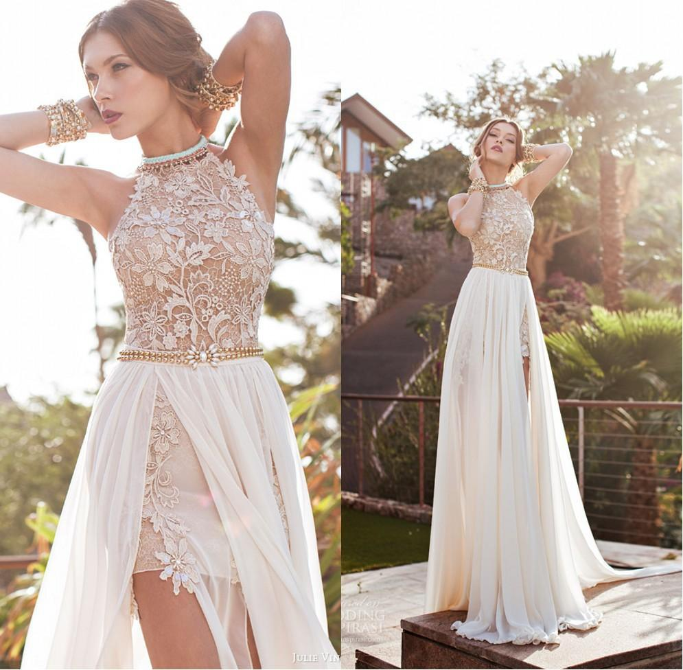 Romantic Julie Vino Lace Beaded Chiffon High Low White Lace Prom ...