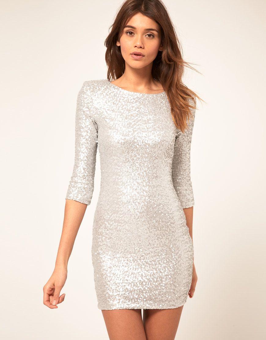 2016 New Years Eve Sliver Sequin Dresses Elegant Half ...
