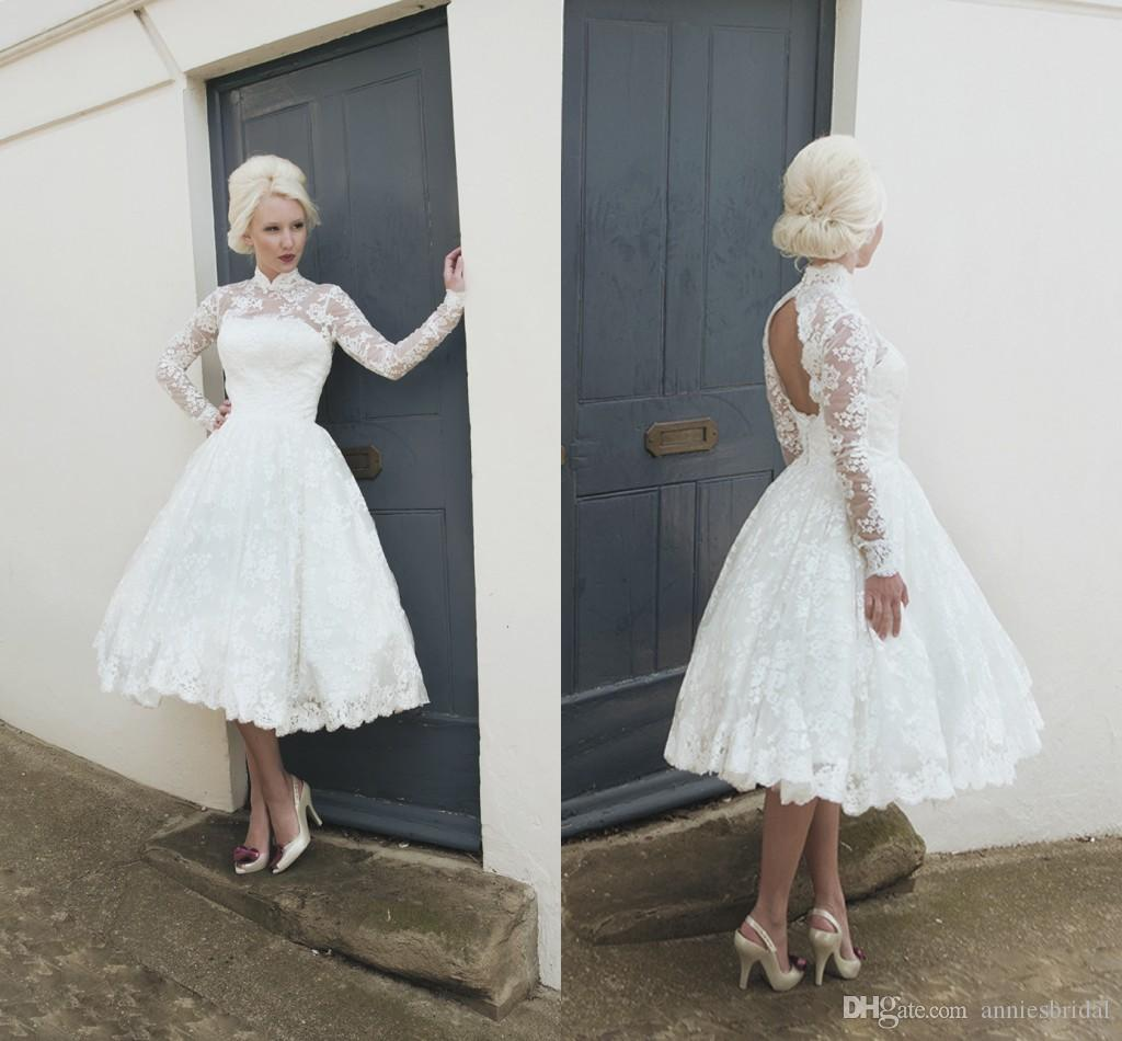 Discount 2015 vintage sheer high neck tulle lace short for White lace vintage wedding dress