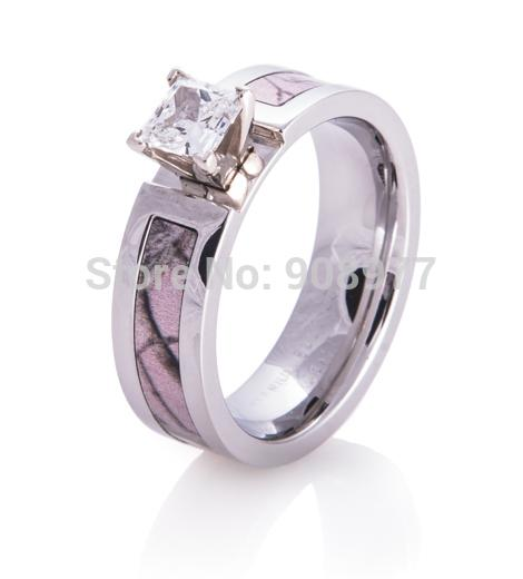 wholesale 5mm titanium 1ct aaa cz inlaid realtree ap pink camo engagement ring camo wedding band - Cheap Camo Wedding Rings