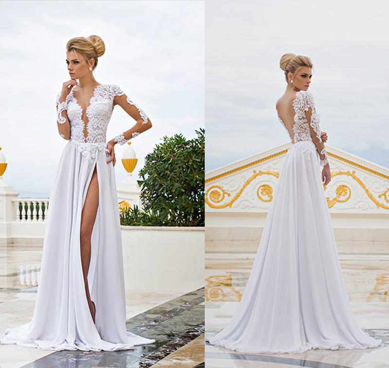 Discount 2015 backless beach wedding dresses vintage v for Backless beach wedding dresses
