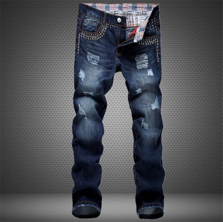 Best Hot Sale Men Ripped Denim Jeans With Rivet 100% Cotton Dark ...