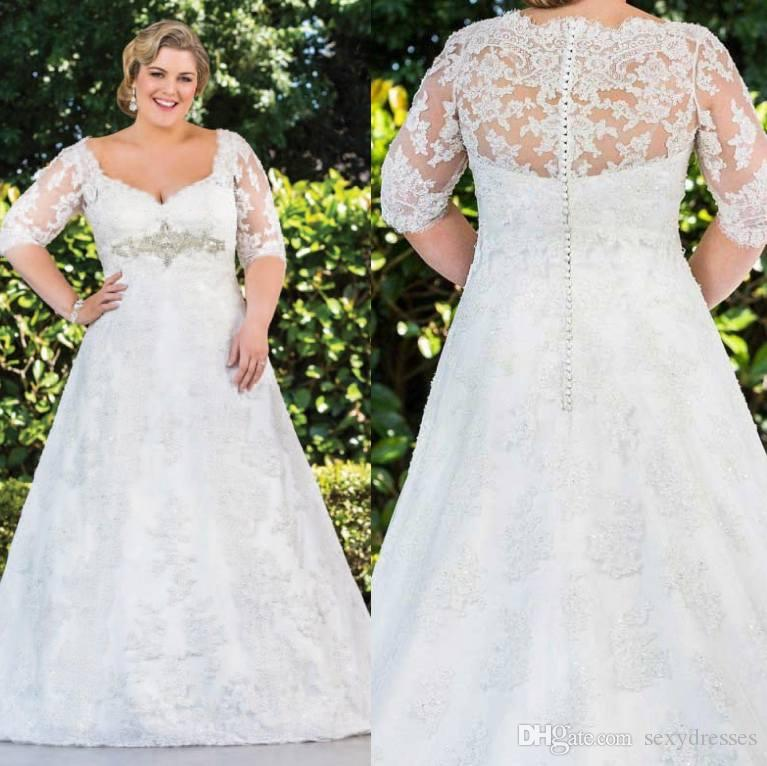 Plus Size Lace 2016 Wedding Dresses 3/4 Long Sleeves Appliques ...