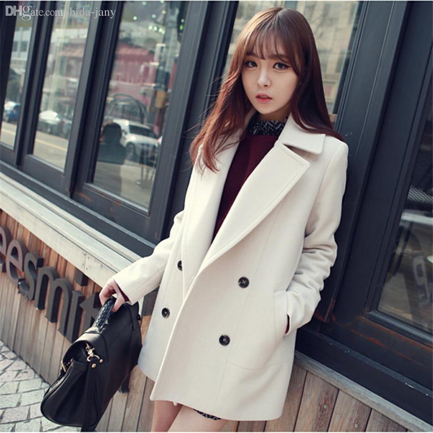 Wholesale-Winter Medium-Long White Light Blue Wool Coat Women's ...