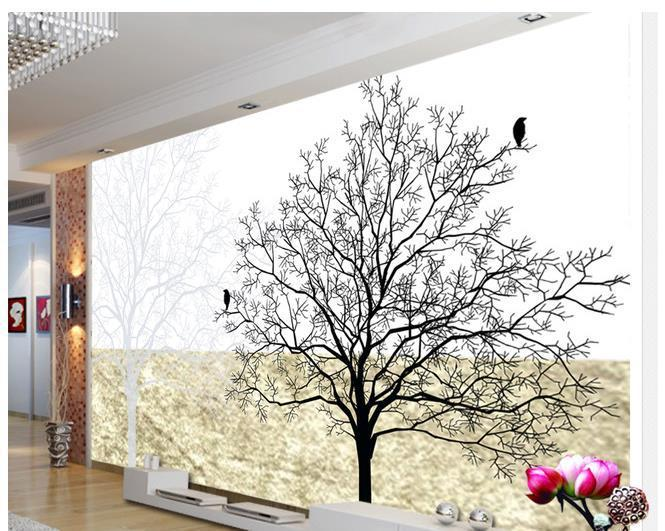 Non woven wallpaper black and white tree mural wallpaper for Black and white tree wallpaper mural