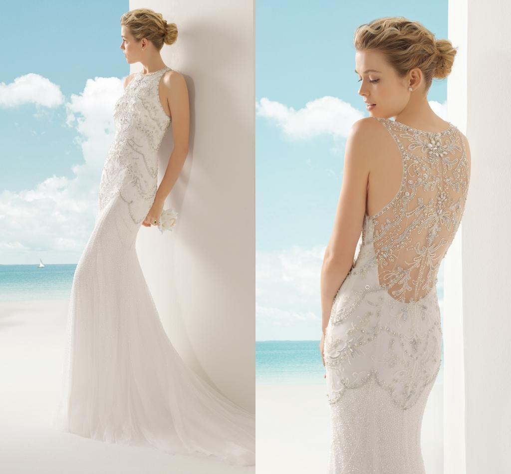 2016 y Mermaid Wedding Dresses Bateau Short Sleeve