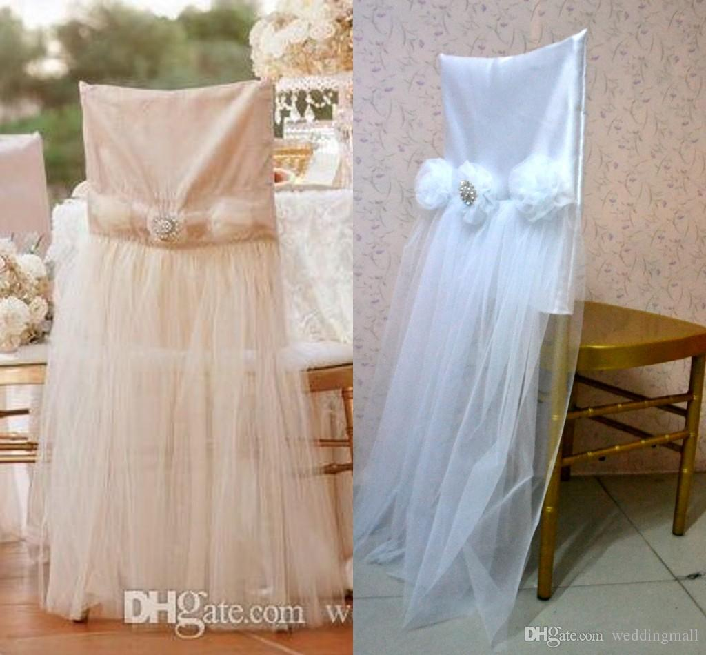 2017 2015 For Champagne Tulle Chair Sashes Chair Covers Sample – Tulle Chair Bows