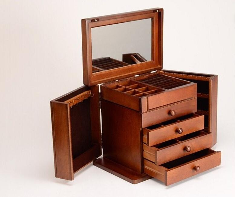 2017 vintage solid wood jewelry box multifunction jewelry for Solid wood jewelry chest