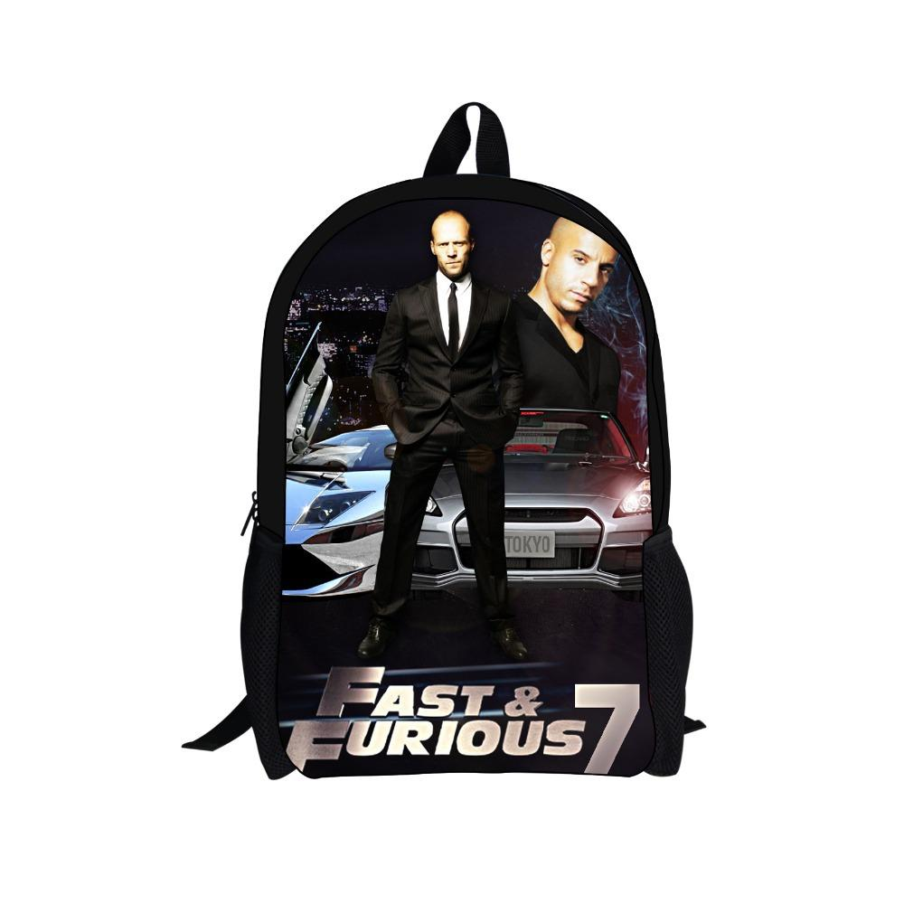 School bag for year 7 - 2015 New Fast And Furious 7 Backpack School Bags For Teenagers Fashion Car Match Printing