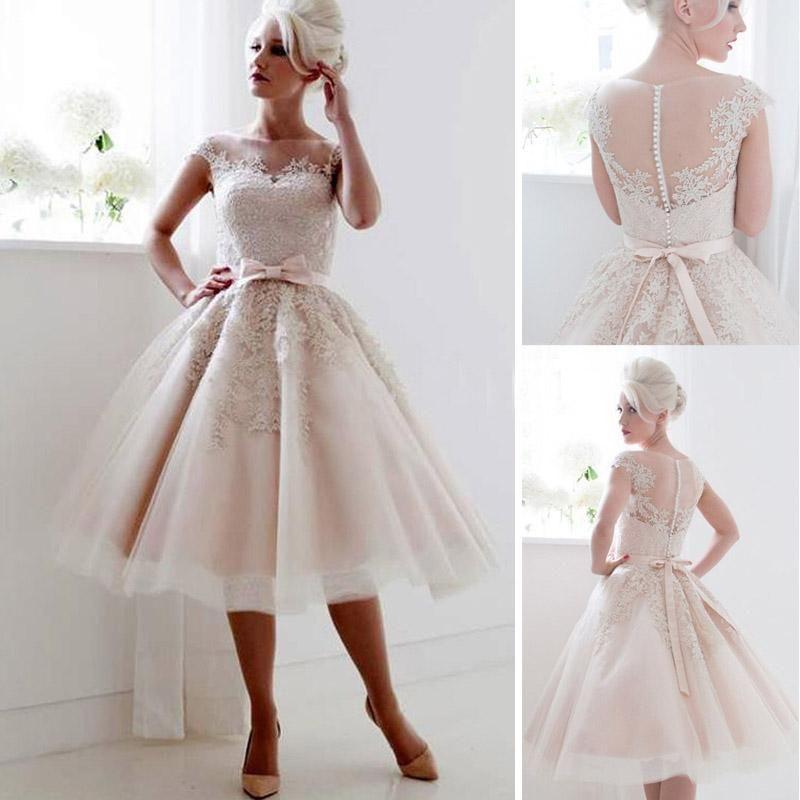 Vintage 1950 39 s style cap sleeves tea length a line saudi for Vintage t length wedding dresses