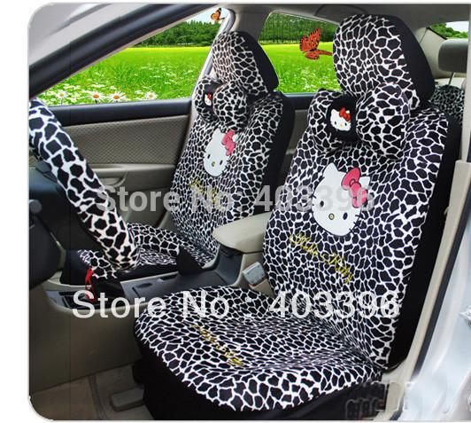 hello kitty universal black leopard print winnter car seat covers car accessories car interior. Black Bedroom Furniture Sets. Home Design Ideas