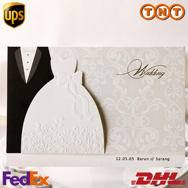 Funny Wedding Invitations Black Suits White Evening Dress Style Bridal Shower Invitations Foil ...