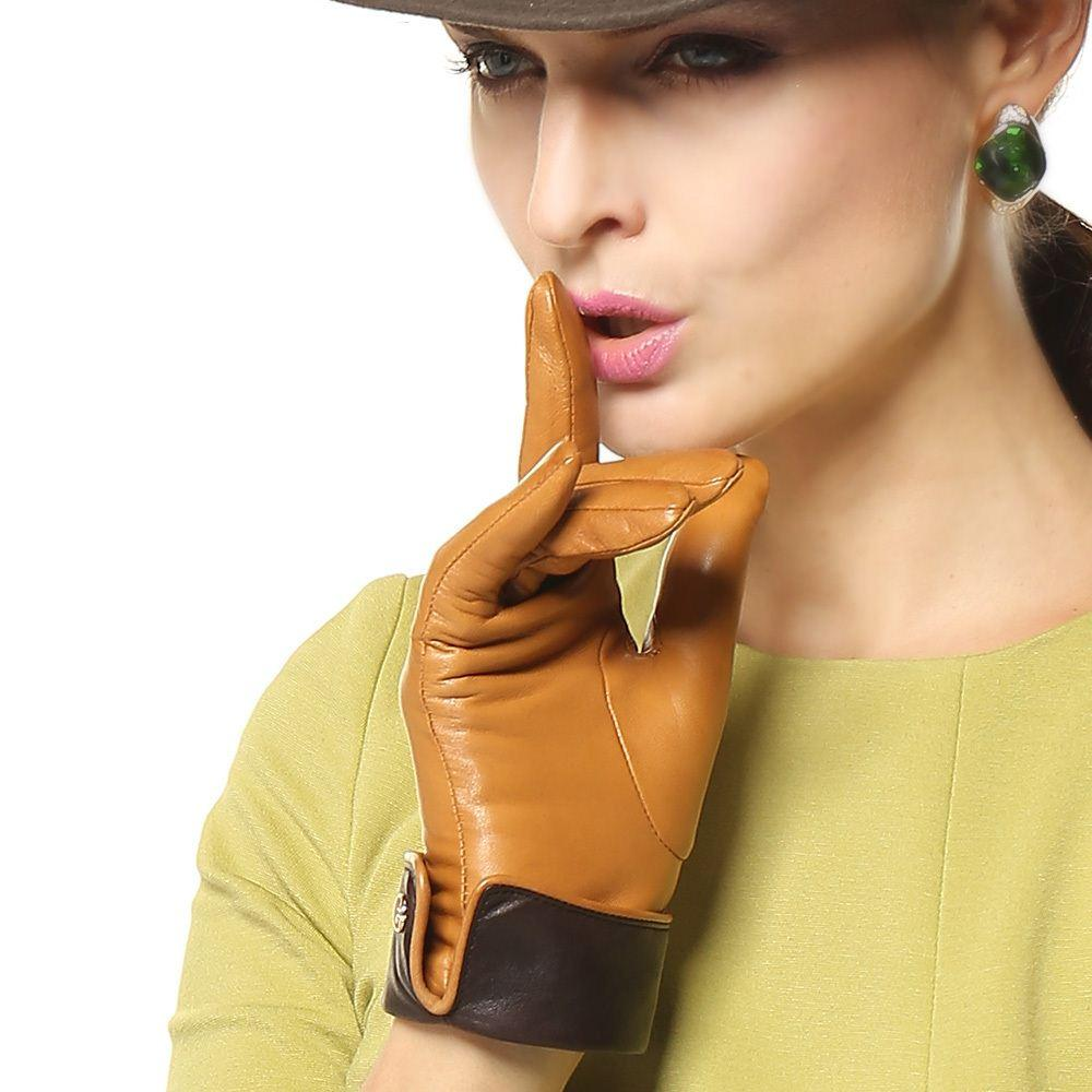 Womens colored leather gloves - Simple Elegance Female Genuine Leather Gloves Contrast Color Women Sheepskin Gloves Fashion Wrist Short Leather Gloves