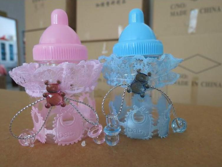 new baby shower favors blue pink milk bottle candy box with bear lace candy boxes candy bag for party decorations supplies