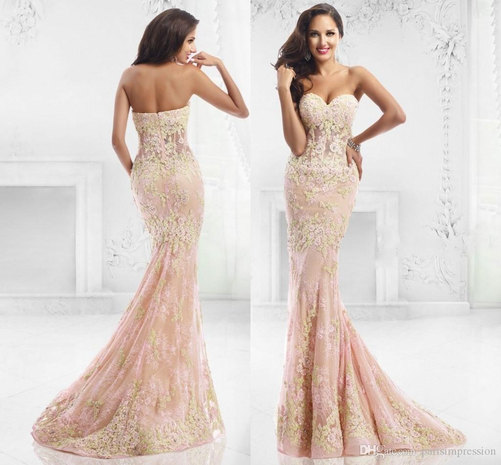 2015 Pink Long Mermaid Prom Dresses Sweetheart Applique