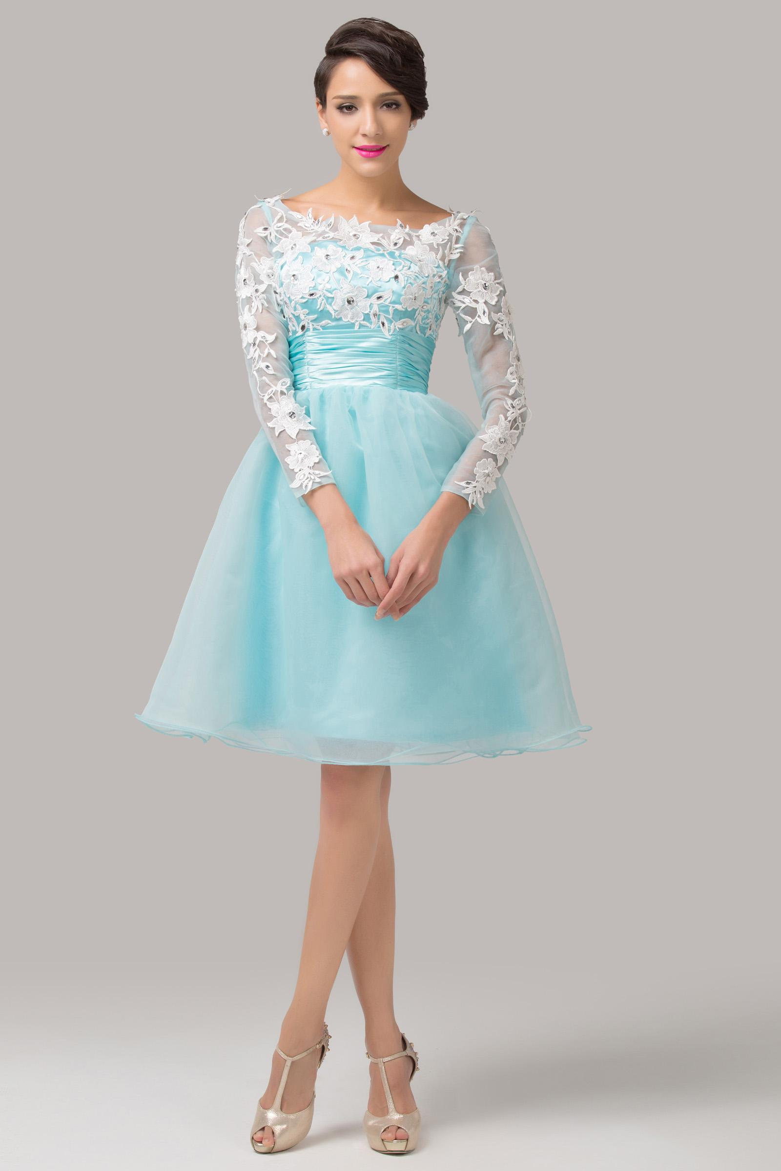 Grace Karin New Sky Blue Short Lace Party Evening Dress Prom Gown ...