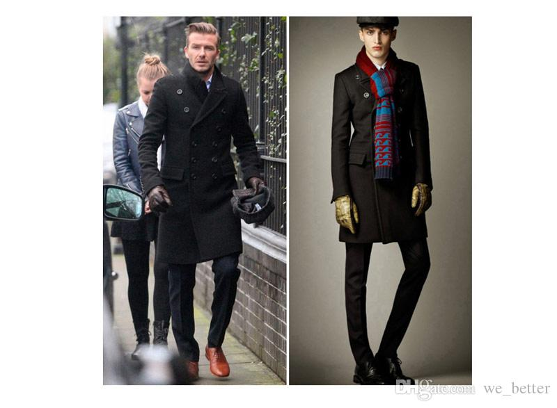 Fashion Winter Long Trench Coat Men Coat Lapel Double Breasted ...