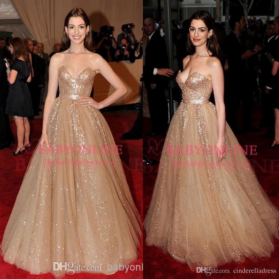 Dark Gold Anne Hathaway Celebrity Red Carpet Formal Dresses ...
