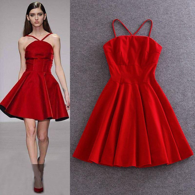 Black/Red Velvet Spaghetti Strap Backless Dress Sexy Ladies ...