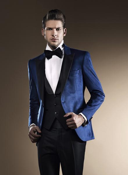 Blue Wedding Suits For Men Black Peaked Lapel Grooms Tuxedos Three