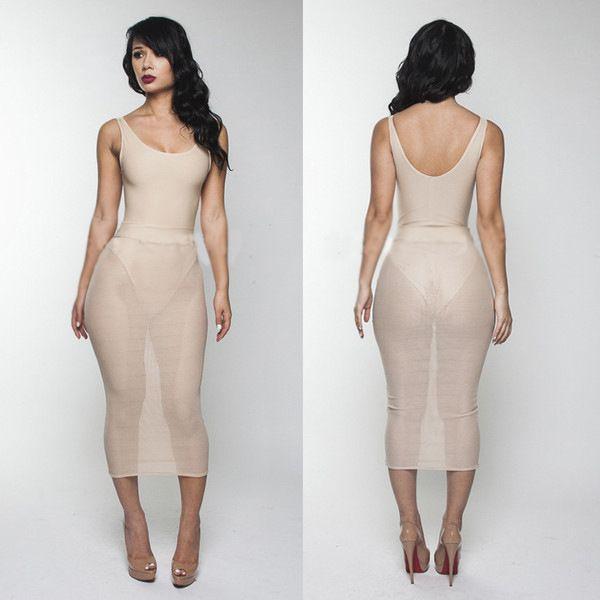 Hottest Top Sheer Bandage Dress White Nude Patchwork U Neck ...