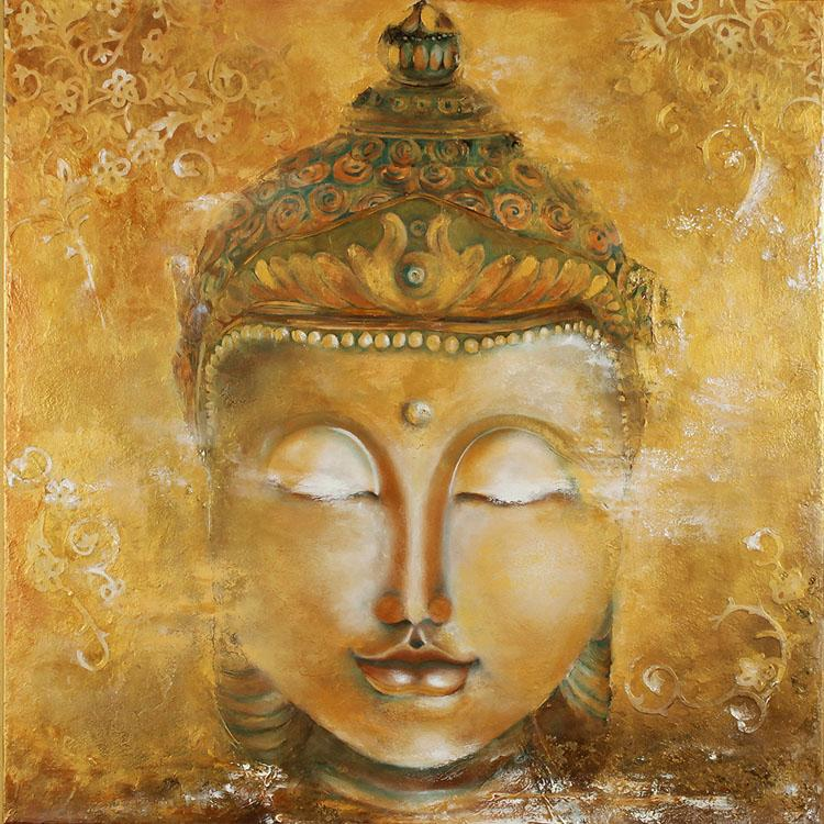 Vintage buddha photo wallpaper 3d custom wallpaper oil for Buddha mural art
