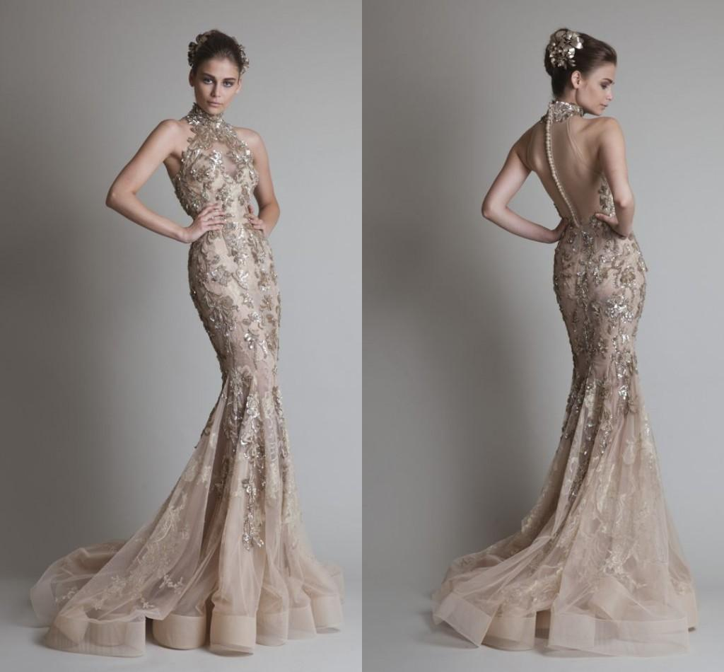 High Neck Gold Applique Wedding Dresses Mermaid Long Luxury Krikor ...