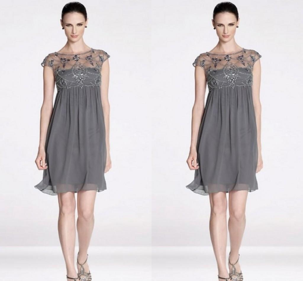 Silver Gray Mother The Bride Dresses Sheer Neck Cap