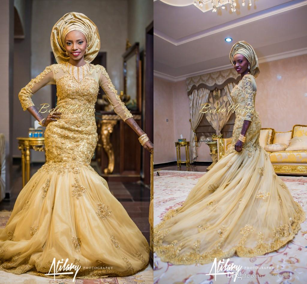 Gold Muslim Wedding Dresses 2015 y Mermaid Nigerian