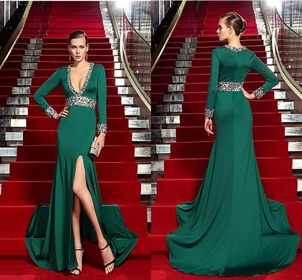 2015 Sexy Dark Green Prom Gowns V Neck Long Sleeve Sheath Sweep ...