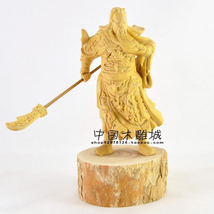 Boxwood carving carved ornaments mighty guan gong er