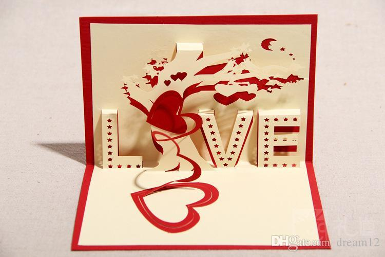 3d Handmade Greeting Cards ValentineS Day Love Tree Art Craft – Valentines Day Post Cards