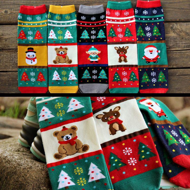 Fashion Socks Girls Socks Ankle Socks Christmas Cute Cartoon ...