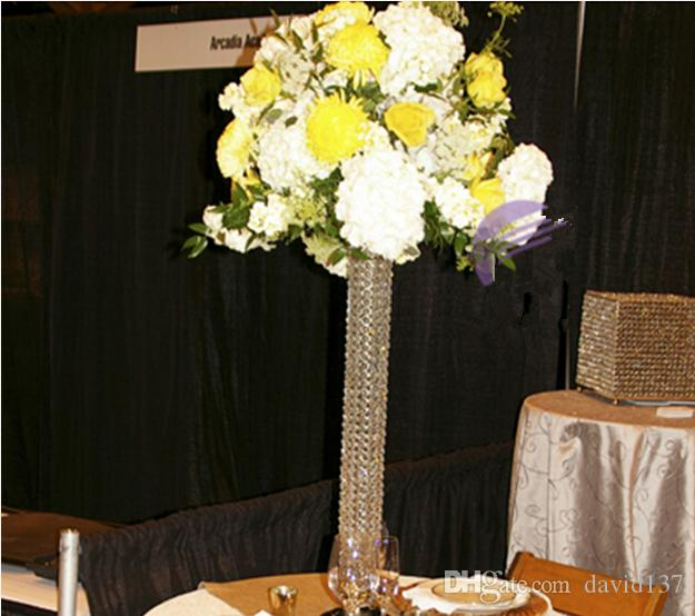 Tall decorative crystal pillar stand and flower for