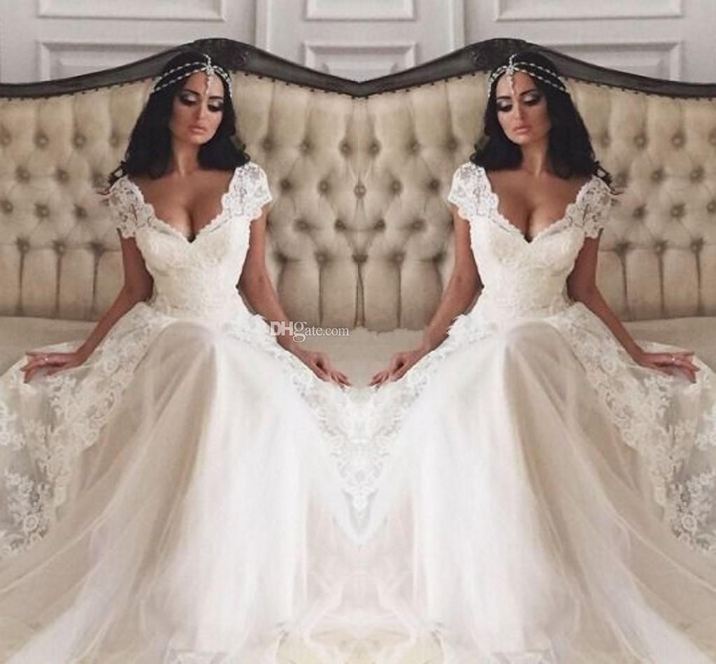 Discount 2015 Vintage Wedding Dress With Short Cap Sleeves