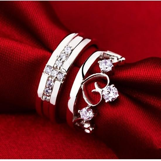 2017 love silver 925 crown cross crystal engagement wedding rings for women and men jewelry finger ring j412 from longxing03 1209 dhgatecom - Crown Wedding Rings